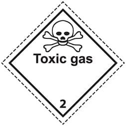 Etiquette de danger 10×10 cm, classe 2.3, gaz toxique + texte TOXIC GAS