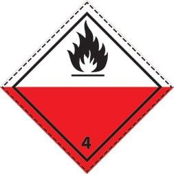 Plaque-étiquette de danger ADR classe 4.2de danger classe 4.2, inflammation spontanée