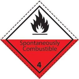 Etiquette de danger 10×10 cm en rouleau, classe 4.2, avec texte SPONTANEOUSLY COMBUSTIBLE