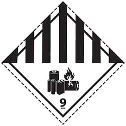 Etiquette de danger classe 9A Batteries au lithium