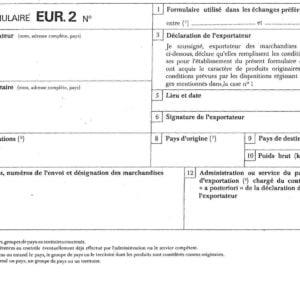 Certificat de circulation EUR2