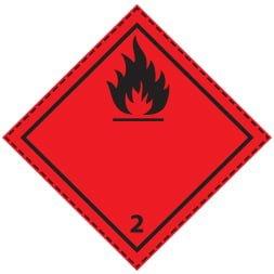 Plaque-étiquette de danger ADR classe 2.1
