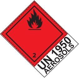 Etiquette de danger 10×10 cm en rouleau, classe 2.1 avec UN