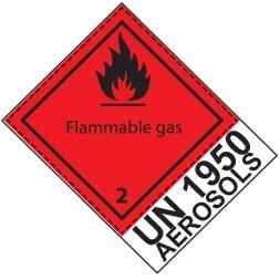 Etiquette de danger 10×10 cm en rouleau, classe 2.1 avec code UN