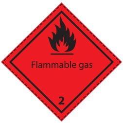 Etiquette de danger 10×10 cm en rouleau, classe 2.1