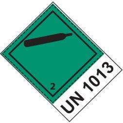 Etiquette de danger 10×10 cm en rouleau, classe 2.2 avec code UN