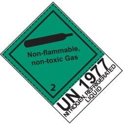 Etiquette de danger 10×10 cm en rouleau, classe 2.2