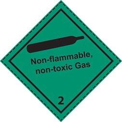 Etiquette de danger 10×10 cm en rouleau, classe 2.2, gaz non inflammable