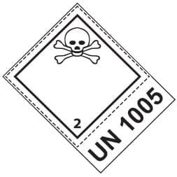 Etiquette de danger 10×10 cm, classe 2.3, gaz toxique + CODE UN