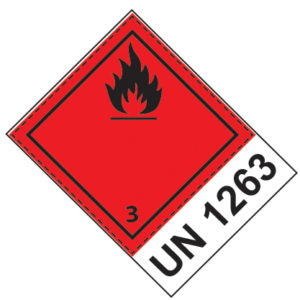 Etiquette de danger 10×10 cm en rouleau, classe 3, + code UN/ONU