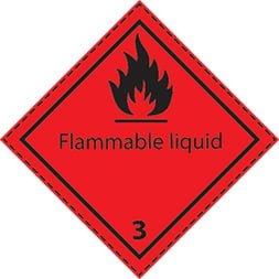 Etiquette de danger 10×10 cm en rouleau, classe 3, Flammable Liquid