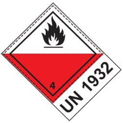 Etiquette de danger 10×13,3 cm en rouleau, classe 4.2, avec code ONU + désignation