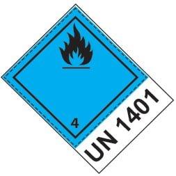 Etiquette de danger 10×13,3 cm en rouleau, classe 4.3, avec code ONU + texte DANGEROUS WHEN WET