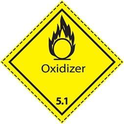 Etiquette de danger 10×10 cm à plat, classe 5.1 avec texte OXIDIZER