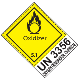 Etiquette de danger 10×13,3 cm à plat, classe 5.1 avec texte OXIDIZER