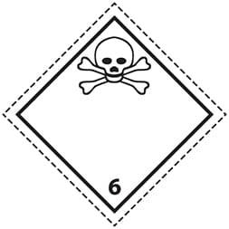 Etiquette de danger 10×10 cm à plat, classe 6.1 Matières toxiques