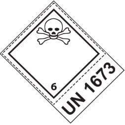 Etiquette de danger 10×10 cm en rouleau, classe 6.1 avec code ONU / désignation officielle de transport