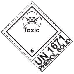 Etiquette de danger 10×10 cm en rouleau, classe 6.1 avec code ONU / désignation officielle de transport + texte TOXIC