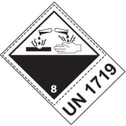 Etiquette de danger 10×13,3 cm en rouleau, classe 8 avec code ONU / désignation de transport
