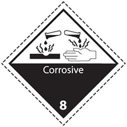 Etiquette de danger 10×10 cm en rouleau, classe 8 avec texte CORROSIVE