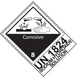 Etiquette de danger 10×13,3 cm en rouleau, classe 8 avec code ONU / désignation de transport et texte CORROSIVE