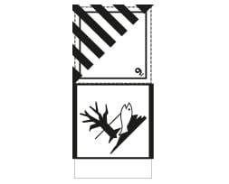 Etiquette de danger combinée classe 9 et dangereux pour l'environnement UN 3082 & UN 3077