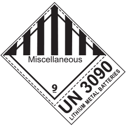 Etiquette de danger 10×13,3 cm en rouleau, classe 9 avec code ONU & désignation et texte MISCELLANEOUS