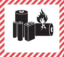 Etiquette de danger 11×12 cm en rouleau, Piles et batteries au lithium