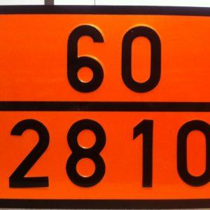 panneau orange ADR avec numéros emboutis